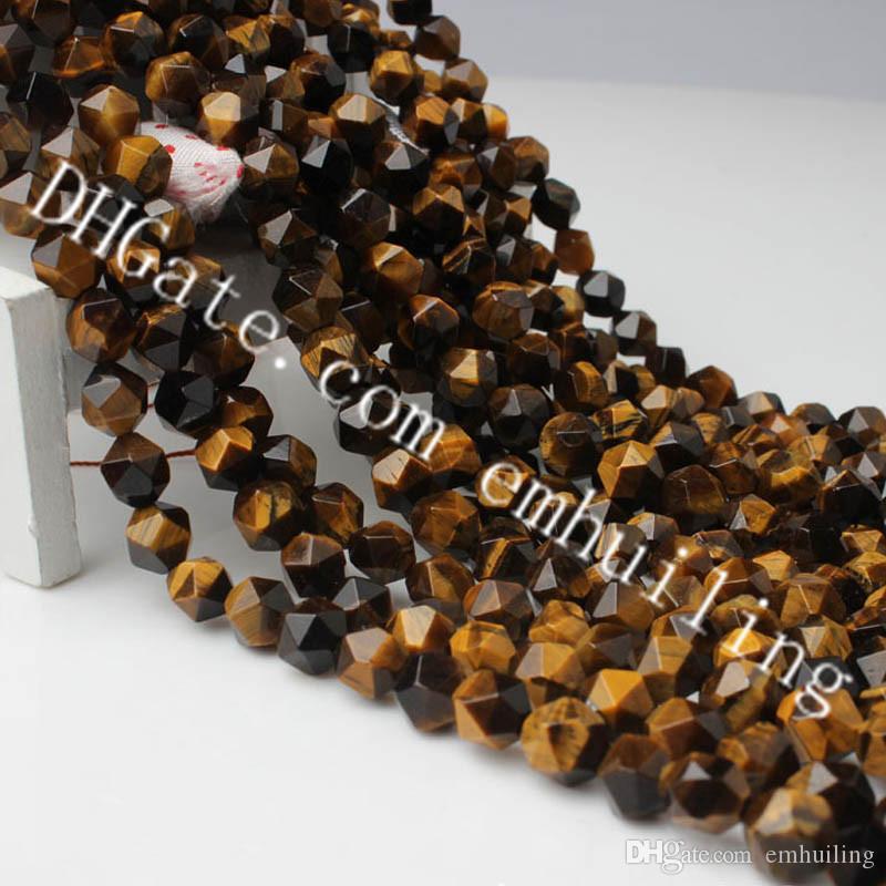 10 Strands Natural Tigers Eye 6mm-12mm Diamond Cut Faceted Loose Gemstone Beads Nice Star Cut Polygon Tiger Eye Quartz Crystal Nugget Beads