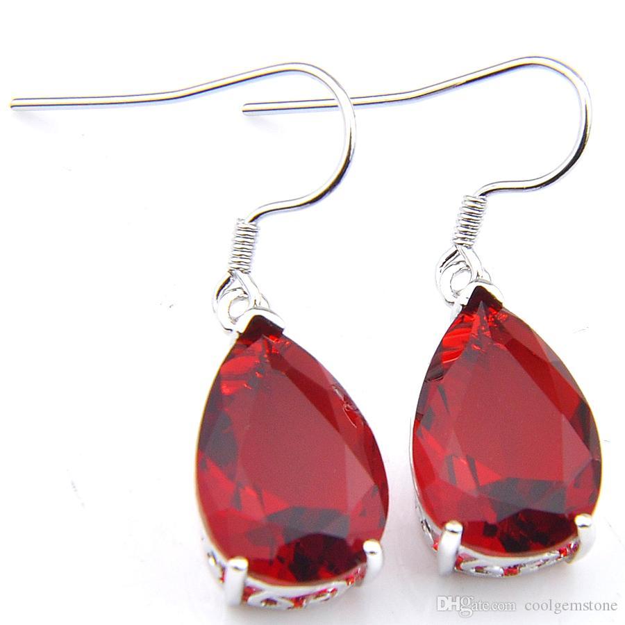 Partihandel luckyshine 12 par vintage vatten droppe röd örhängen 925 silver mode för dam ny stil granat pärlor bröllop örhänge