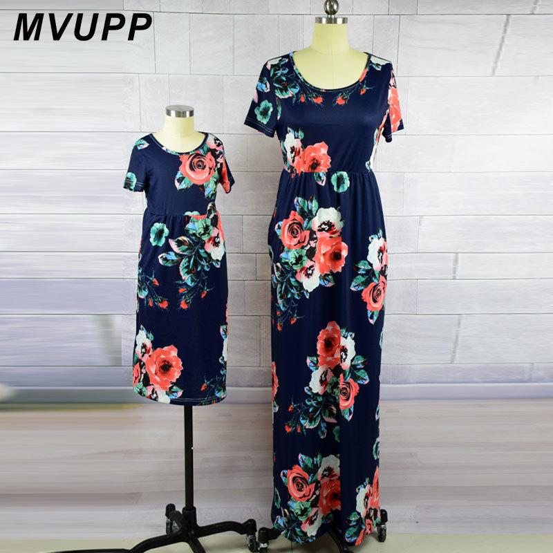 Mvupp Mother Daughter Dresses Fashion Floral Print Short Sleeve Mommy And Me Clothes Family Matching Outfits Ankle-length Dress Y19051103