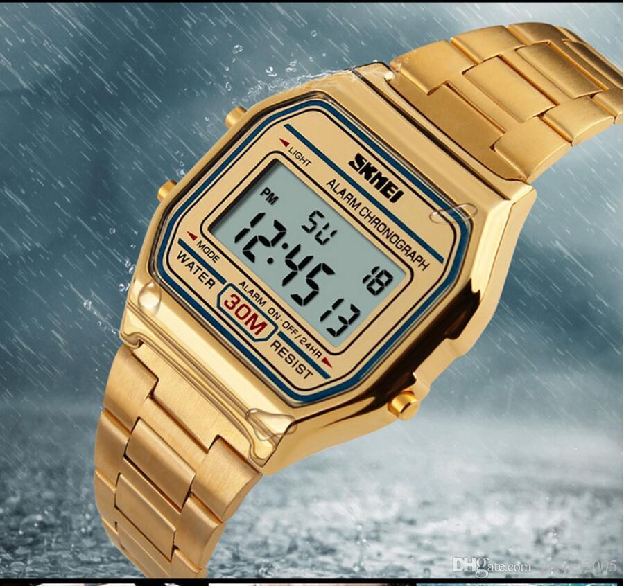 W-SKM009 Moda correa de acero reloj digital Reloj de comercio exterior explosión reloj electrónico moda inconformista hombres estudiante alarma