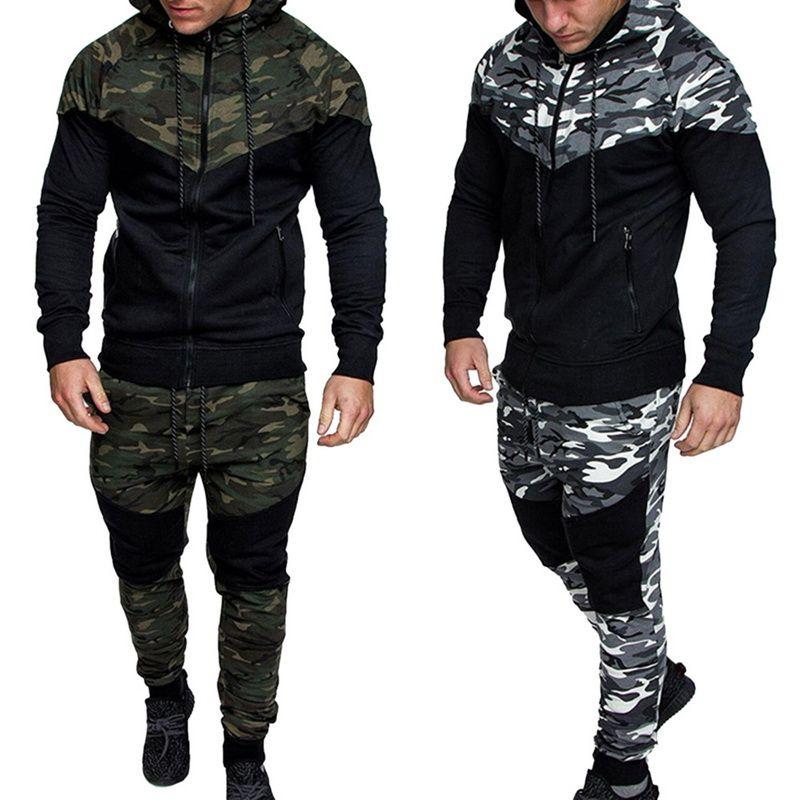 Puimentiua Hombres Conjunto de Estampado de Camuflaje Chaqueta + Pantalones Hombre 2Pc Casual Chándal Sportwear Sudaderas Con Capucha Sudadera Pantalón Traje Más Tamaño 3xl
