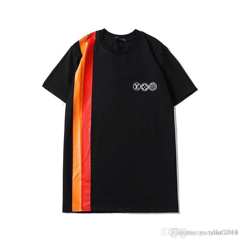 2020 yaz T Shirt Erkekler Kadınlar Günlük tişört Moda Mürettebat Boyun Desen baskı Pamuk Kısa Kollu