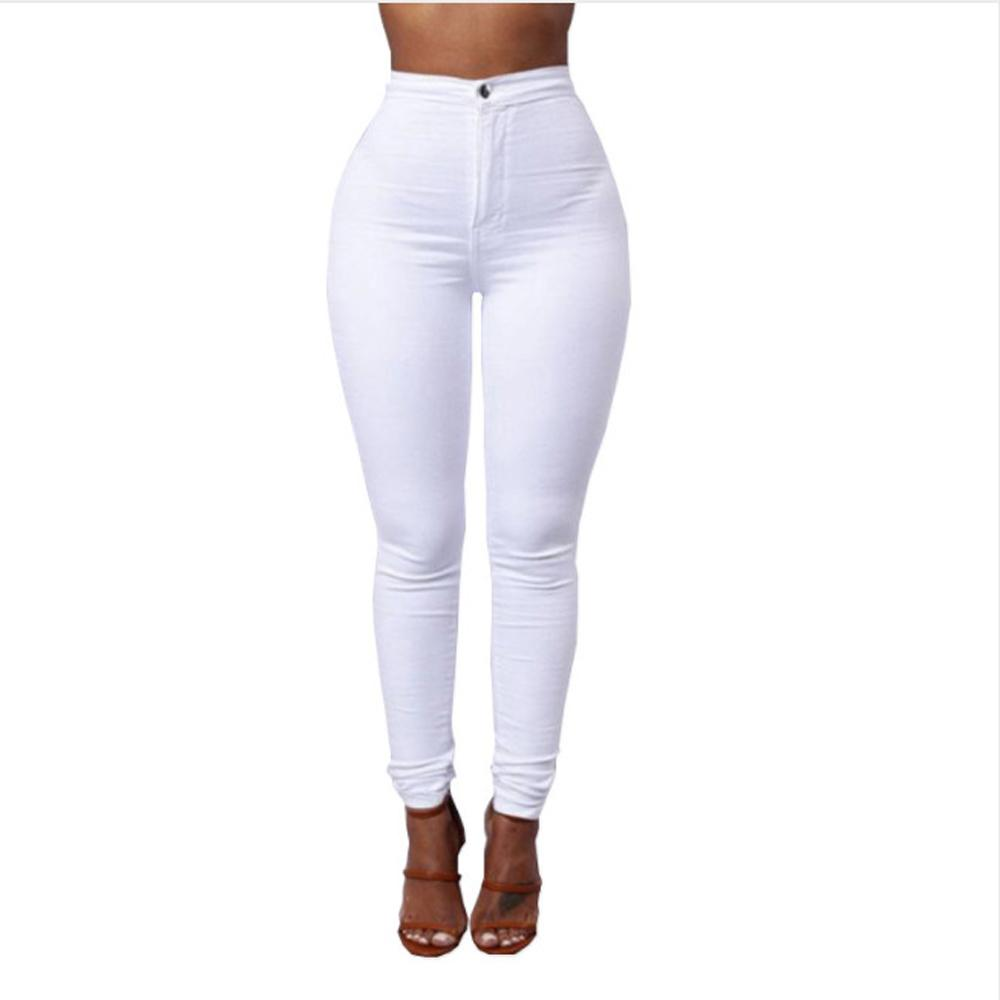 Full Length Cotton Pants Woman Regular White Black High Waist Elastic Faux Jeans Long Pants Female Casual Pencil Pants S-xxxl MX190712