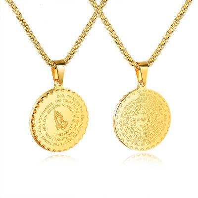 Collar Escritura redondas de acero de titanio para hombre de la moneda de los collares pendientes de la vendimia de Hip Hop de Oro Eslabones Hombres Mujeres regalo de la joyería Statemenet