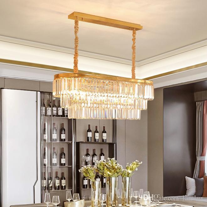 American Luxury Rectangle Crystal Pendant Chandelier Lighting Gold Crystal Chandeliers Lamp Led Pendant Lights For Restaurant Dining Room Farmhouse Chandelier Modern Chandelier Lighting From Lamlux 641 49 Dhgate Com