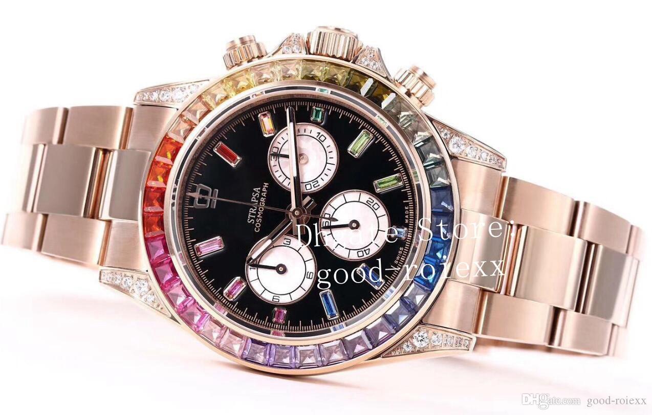 Top di lusso completa Pave Diamond Watches Mens Automatic Cal.4130 Cronografo Uomini 116598 RBOW oro rosa 116595 BL fabbrica Cosmograph ETA