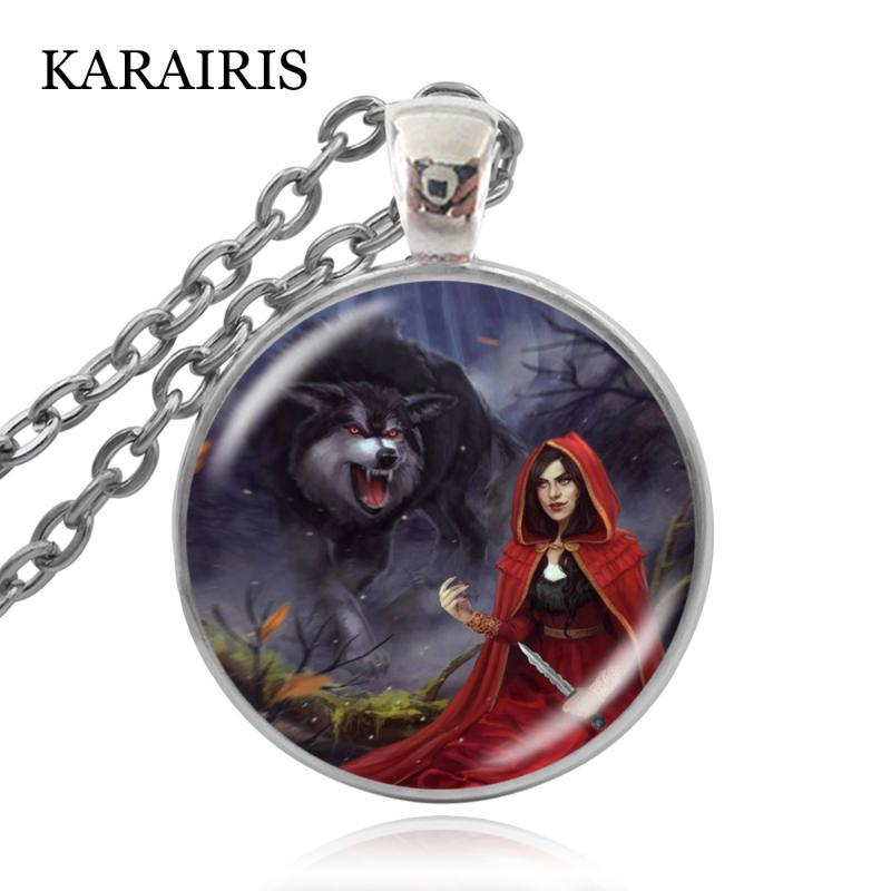 KARAIRIS Charm Little Red Riding Hood Necklace Girls Fashion Jewelry Custom Woman Pendant Link Chain Fairy Tale Mood Necklaces
