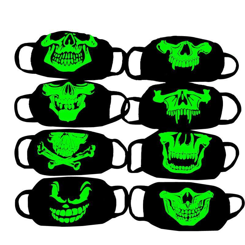 Aydınlık Yüz Maskesi İskelet Binme Anti Toz Moda Kişilik Diş Glow Yeniden kullanılabilir pamuk ağız Karanlık In Gece Halloween Cosplay Siyah Maske