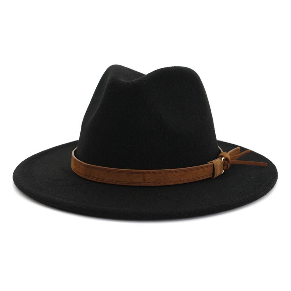 New Fashion sentiu jazz chapéus chapéus clássicos para homens mulheres elegante feltro Sólidos Fedora Hat banda larga plana Brim Elegante Trilby Panamá Caps Z0334