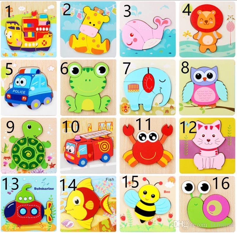 Çocuklar Noel Hediyesi L için Childs Çocuk Karikatür Hayvan Ahşap Bulmacalar Eğitici Oyuncaklar ile Etkileşim için 32 stil Ahşap Puzzle Oyuncak
