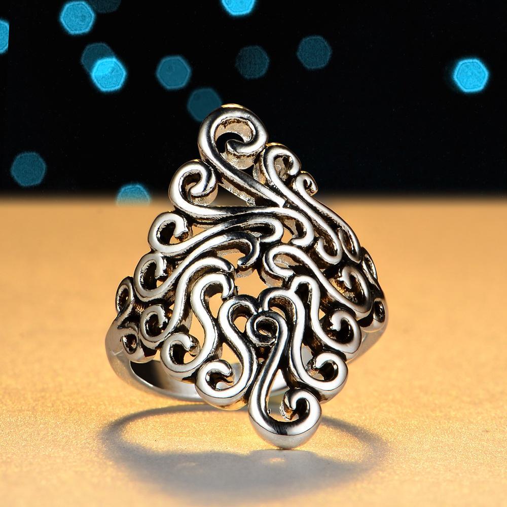 Al por mayor Nueva-rosa de plata de plata de los amantes anillos de banda de flores anillo de oro para las mujeres y hombres dos anillos de joyería fina