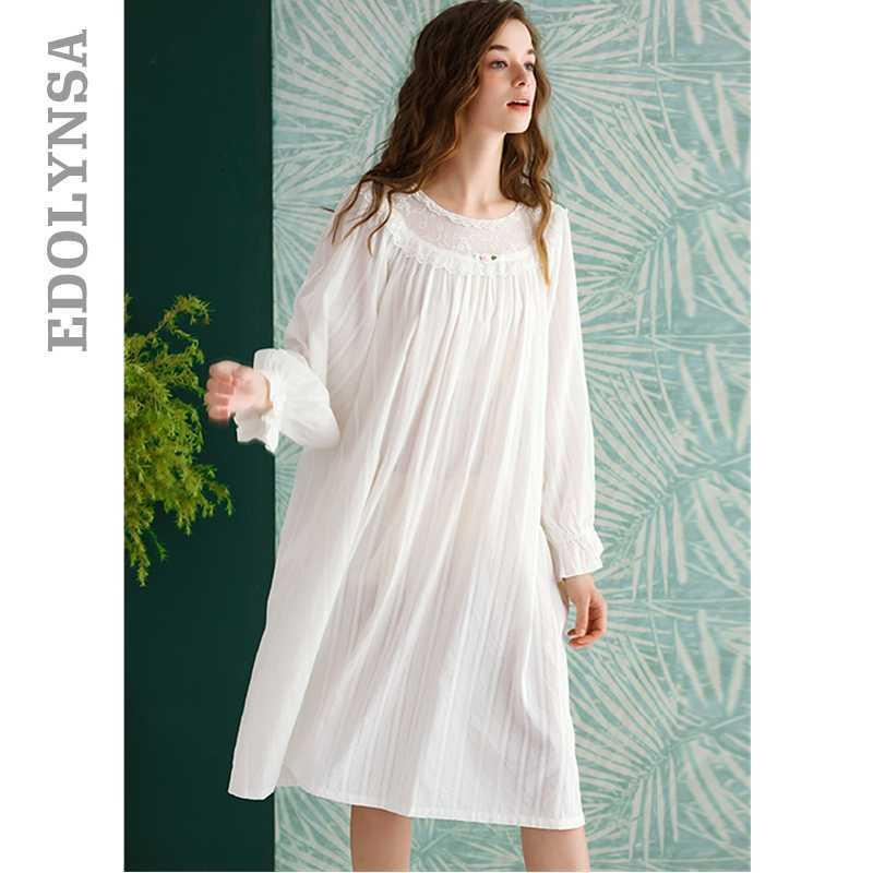 2020 Beyaz pijamalar Vintage Sweet Dantel Pamuk Gecelik Kadınlar Ev Giyim Gece Elbise İçin Düğün Gecelik İç T768