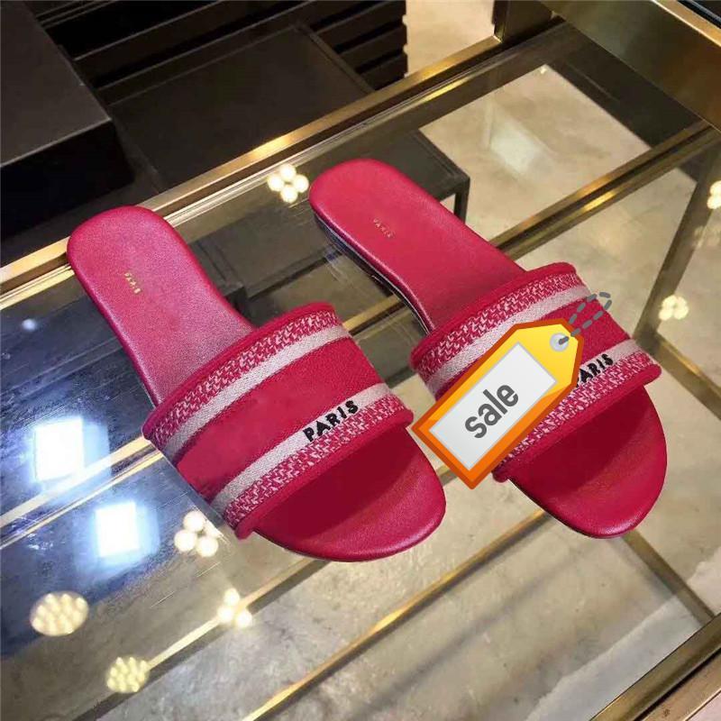 Los últimos zapatos de diseño Mujeres Zapatillas Sandalias planas Marca Slide Dazzle flores bordado floral de la sandalia de rayas playa del deslizador