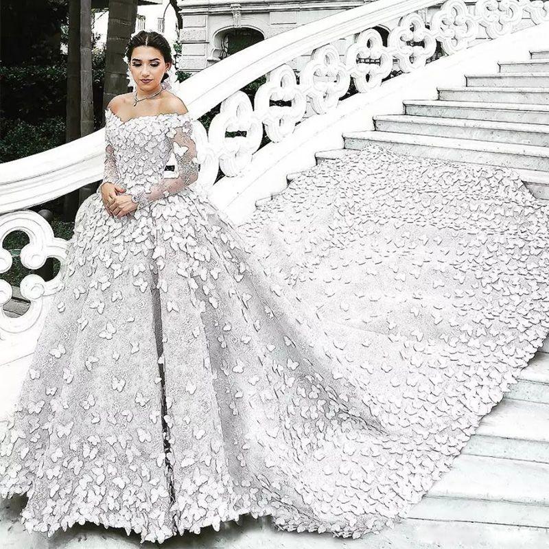 Acheter Robe De Mariée Princesse Blanche Ivoire Unique De Lépaule Manches Longues Luxe Dentelle Papillon Appliques Robes De Mariée De 41629 Du