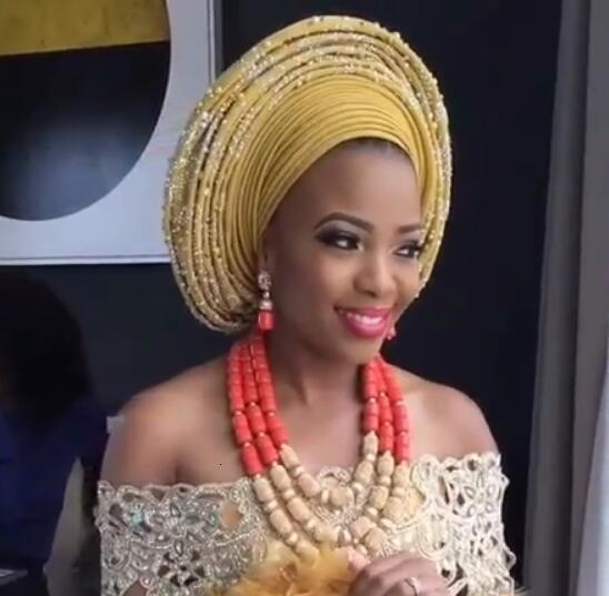 Роскошные нигерийские свадебные бусины комплект ювелирных изделий традиционный африканский свадебный свадебный заявление ожерелье Дубай Бесплатная доставка CNR819 CJ191128