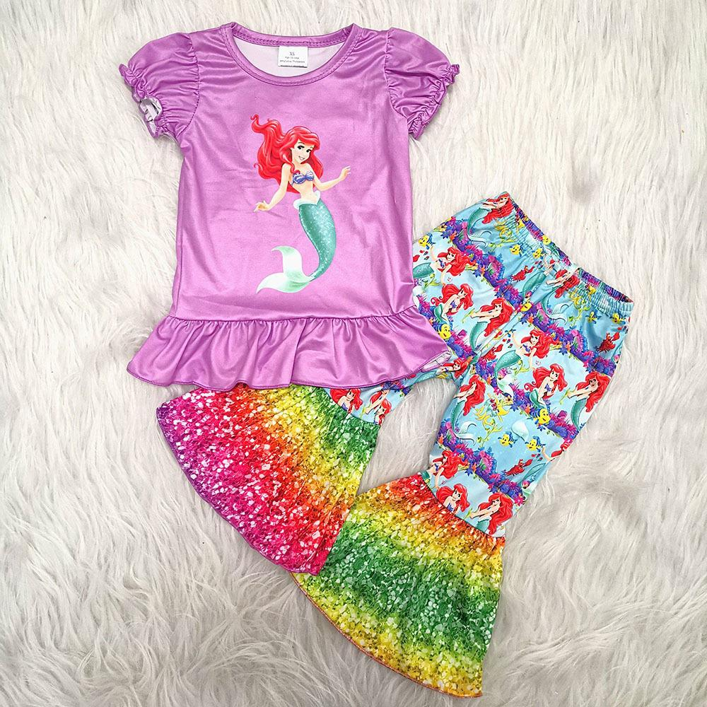 yeni varış çocuk giysileri kısa kollu kıyafet karikatür baskılı üst ve çan pantolon giyim seti T200707 dalgalandırıyorsun