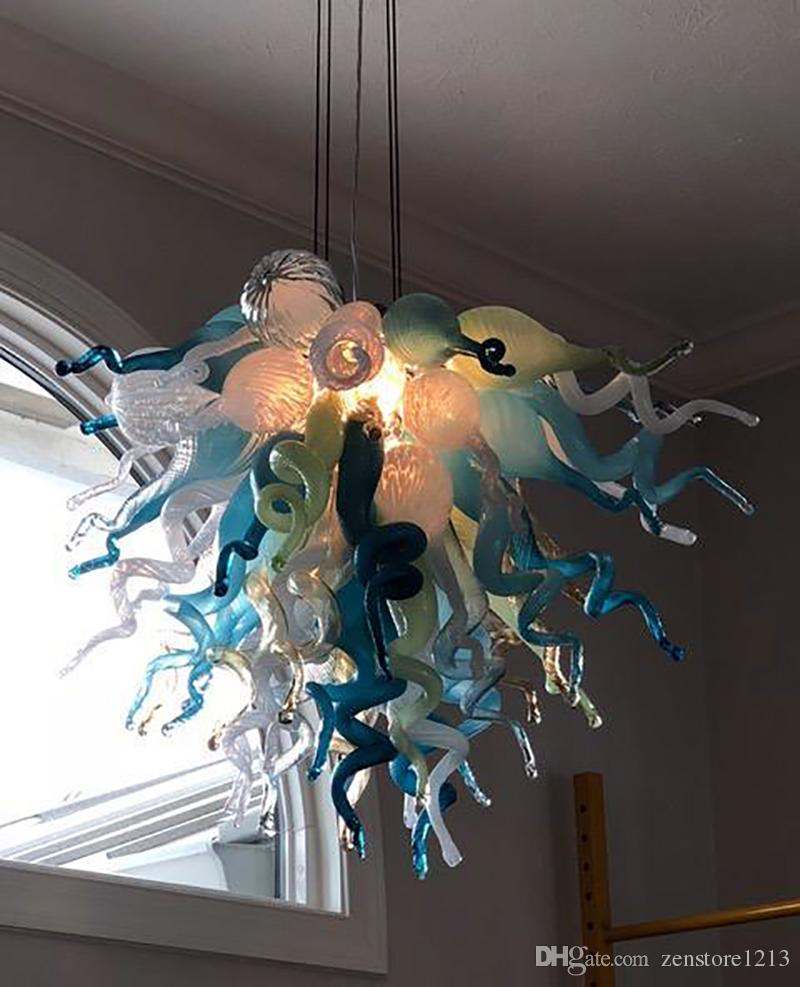 Art Glass Chihuly Estilo Lustres Mão Modern Blown Chandelier Iluminações Custom Made Murano Pingente de vidro Lâmpadas de vidro Home Decor LED Light