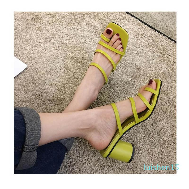 SLHJC Women Summer Slippers High Heels Leather Sandals Summer Fashion Hot Design Lady Candy Color Sweet Thong Shoes Pumps Sandal l15