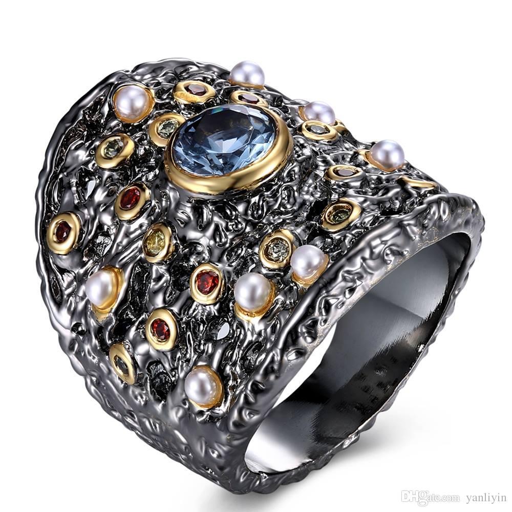 كوكتيل جديد أفضل حفلة كبيرة خاتم أسود الذهب والمجوهرات خمر متعدد الألوان لؤلؤة كريستال خواتم العتيقة في نتائج المجوهرات