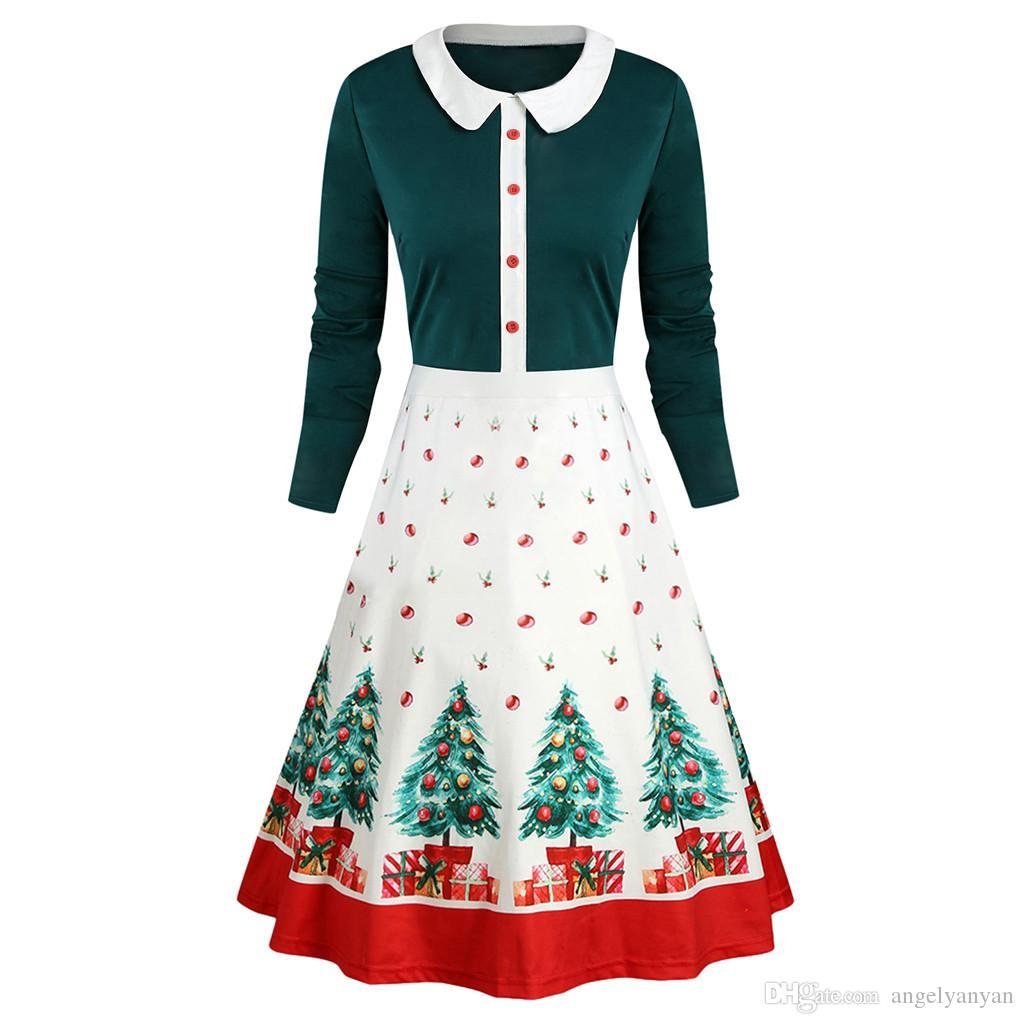 Navidad de la vendimia de las mujeres otoño vestido de las mujeres de descubierta Casual manga larga de cuello Alineada de la impresión de las señoras de Navidad vestidos de verano 2020