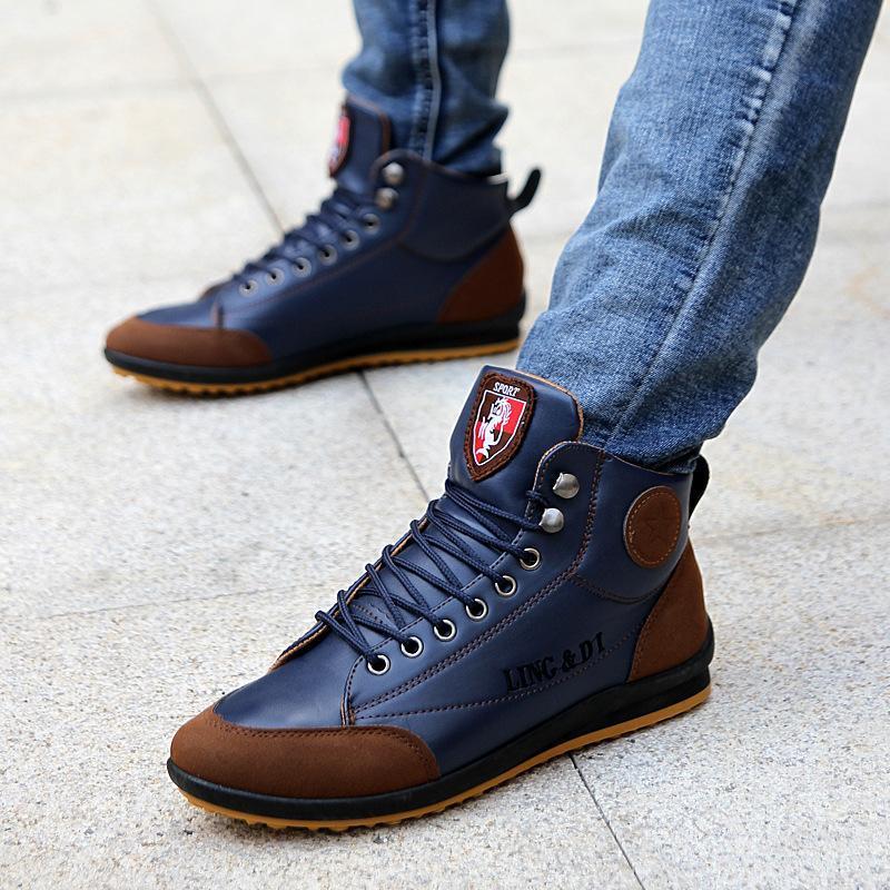 كبيرة الحجم 39-46 أحذية أكسفورد للرجال عارضة الازياء البريطانية نمط الخريف الشتاء في الهواء الطلق جلدية ربط الحذاء حتى الأحذية قطرة