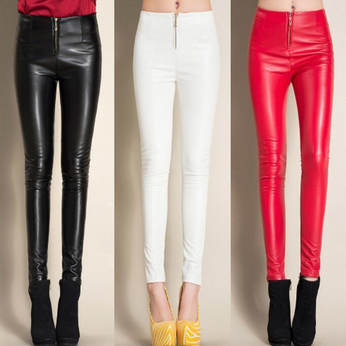# 0501 Pants 2019 inverno Preto / calças de couro branco / vermelho do velo Leggings falso magro PU lápis casual com Zipper Calças mulheres Y200107