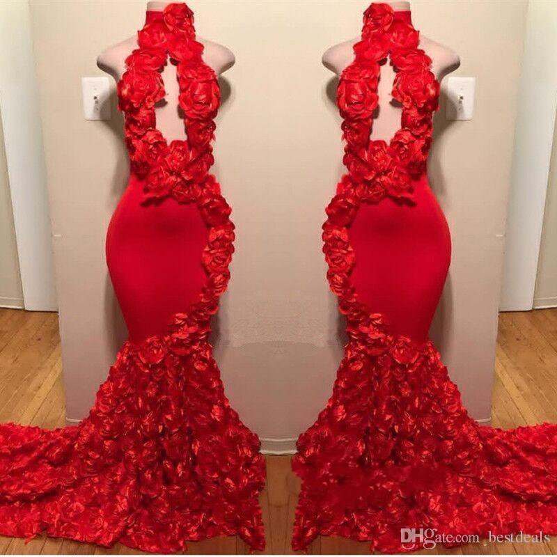 2019 레드 로즈 머메이드 댄스 파티 드레스 새로운 섹시한 높은 목 Appliques 정장 이브닝 드레스 스윕 기차 핫 세일 칵테일 파티 가운