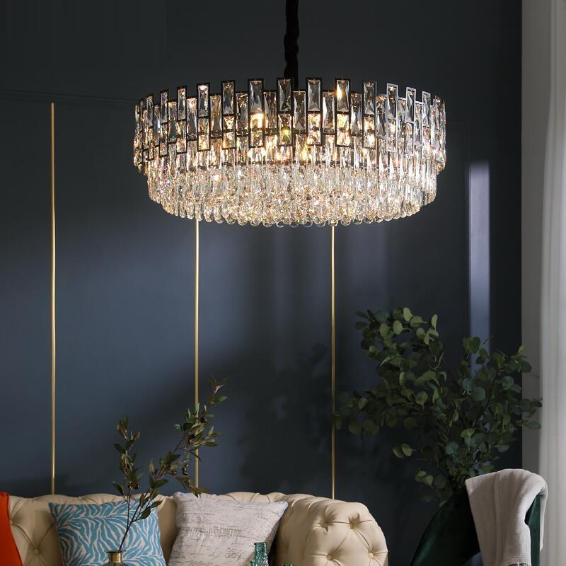 Wohnzimmer Kristall-LED Kronleuchter Moderne einfache runde schwarze amerikanische dekorative Leuchter