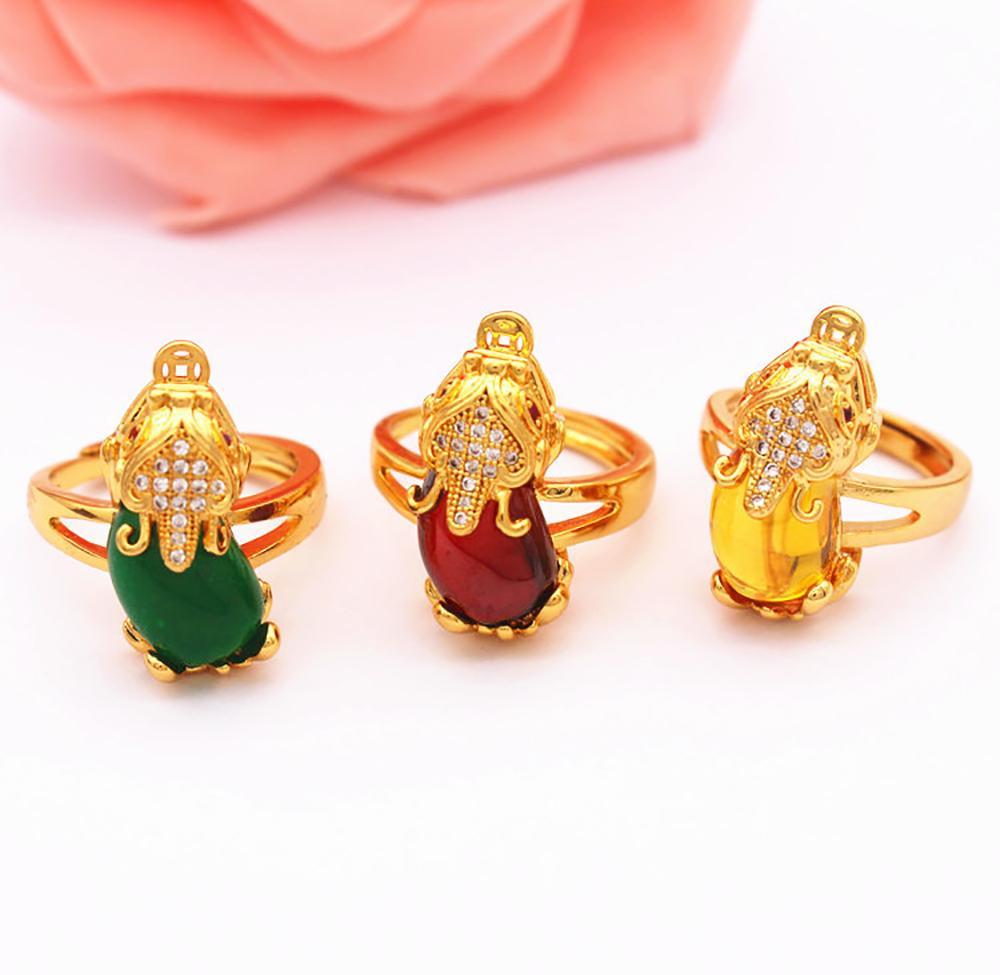 Huilin Joyas coloridas Latón chapado en vietnamita arena oro micro-conjunto de piedras preciosas anillo abierto para hombres y mujeres