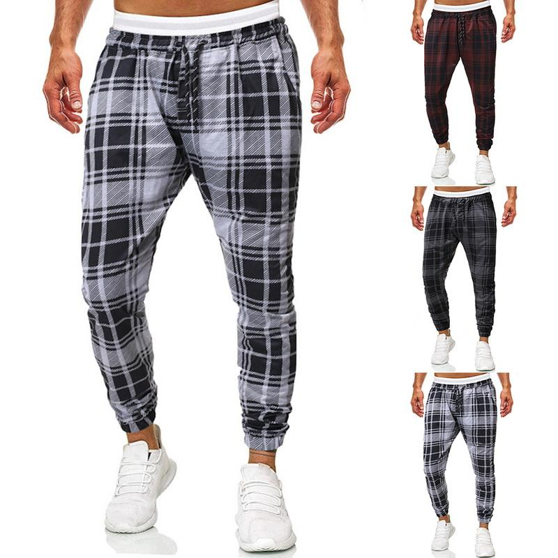 Fashion Casual Cargo Pants Men Plaid Elastic Loose Autumn Trousers Sports Sweatpants Jogger Male Vintage Harem Pants New