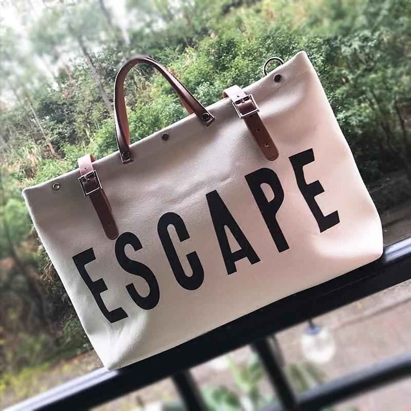 Designer-ESCAPE Canvas Borsa da viaggio di grande capienza di viaggio elegante bagagli viaggio Borsone di stampa della lettera Weekend Duffel Borse