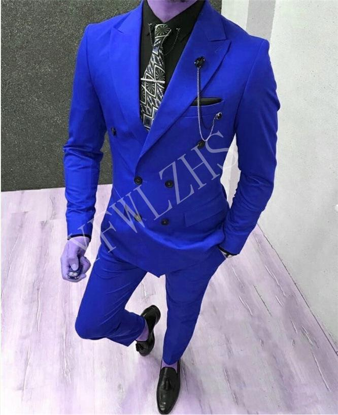 Popular Double-Breasted Groomsmen Peak Lapel Groom Tuxedos Men Suits Wedding/Prom Best Man Blazer ( Jacket+Pantst+Tie) Y72