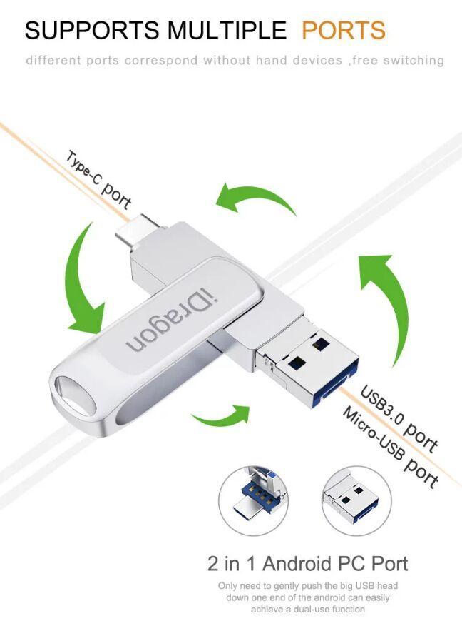 USB 3.0 USB-C USB OTG flash drive 32G 64G 128G OTG flash drive mini usb flash disk memory stisk for phone