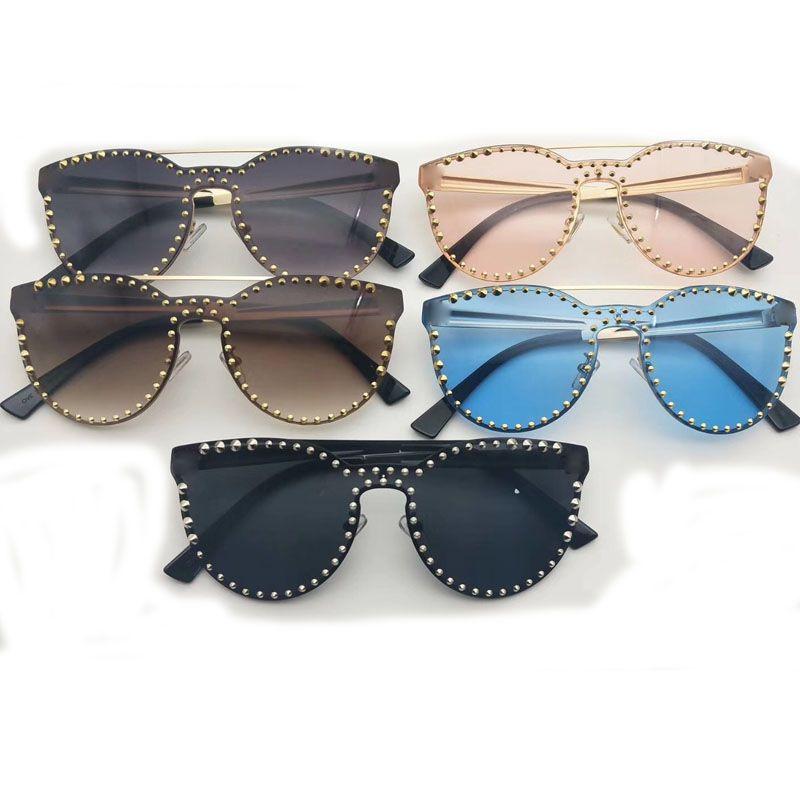 폭발 금속 리벳 선글라스 망은 NICE 얼굴 안경 태양 바이저 안경 브랜드를 타고 안경 좋은 품질 5 색 여자