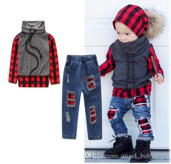 Autumn new children's suits Boys trend sports style stitching color long sleeve high collar sweater hole denim suit