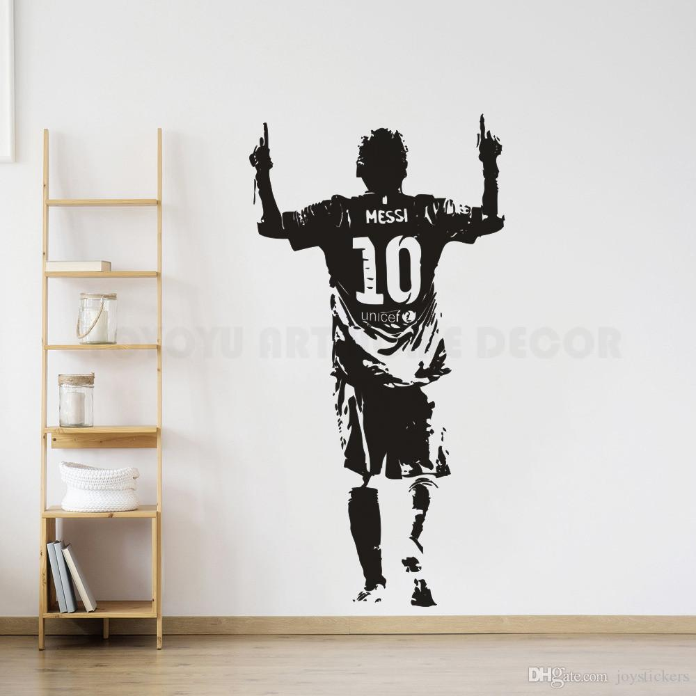 Vinyl Wall Sticker Football Player Wall Decal Messi Soccer Football Star Wallpaper Removable Vinyl Messi Wall Murals