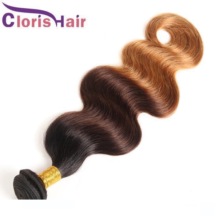 1b H aggroviglia liberamente Biondo Ombre tessuto dei capelli umani dell'onda del corpo del Virgin malese dei capelli Bundle 3 Tone Brown Biondo Capelli mossi estensioni colorati