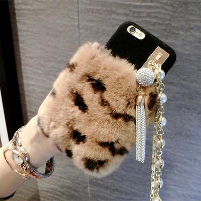 Luxus strass hang seil silikagel set von echt rex kaninchen haar pelz plüsch weichem leder case für iphone x 6 6 plus 7 8 8 plus