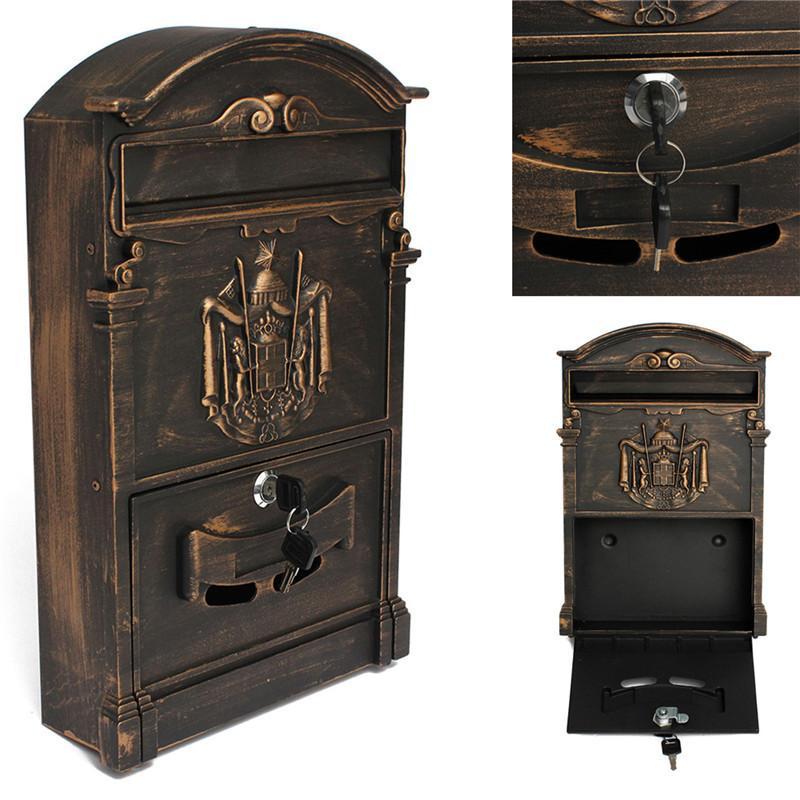 Muro 41x25x8cm Retro Mailbox Villas Post Box europea con serratura esterna Giornali Scatole Fissare Letterbox Garden Home Decoration T200117