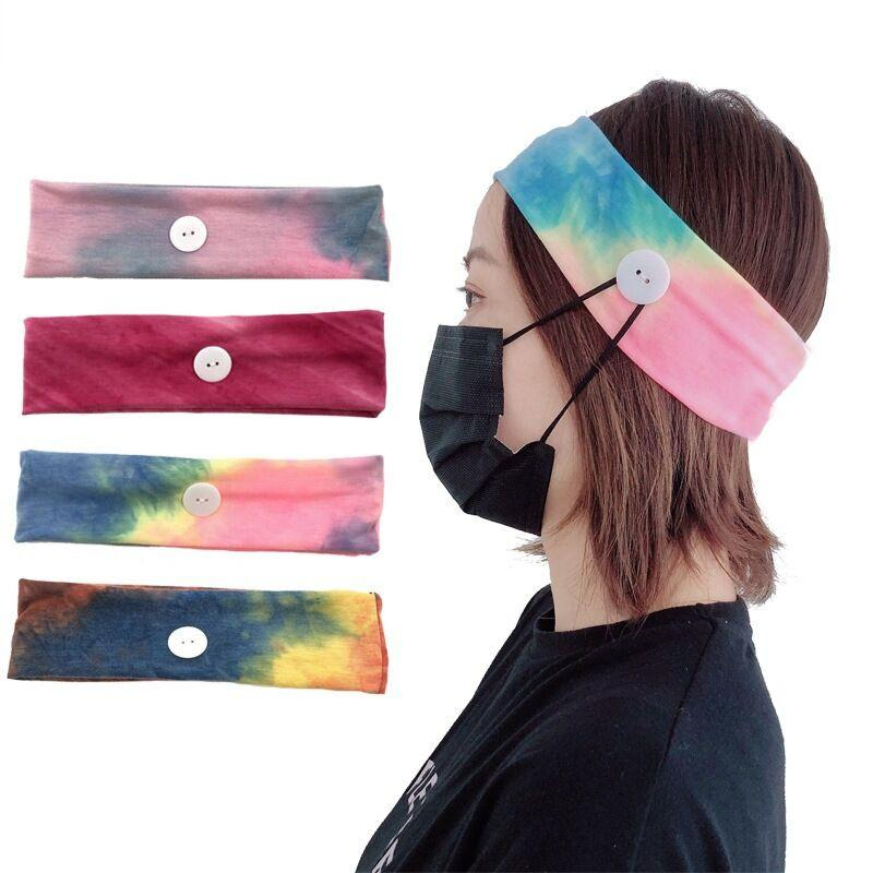 Free DHL Women Face Mask Headband with Button for Ear Protective Lady Yoga Gym Sports Hairbands Elastic Hairlace Hair Accessories