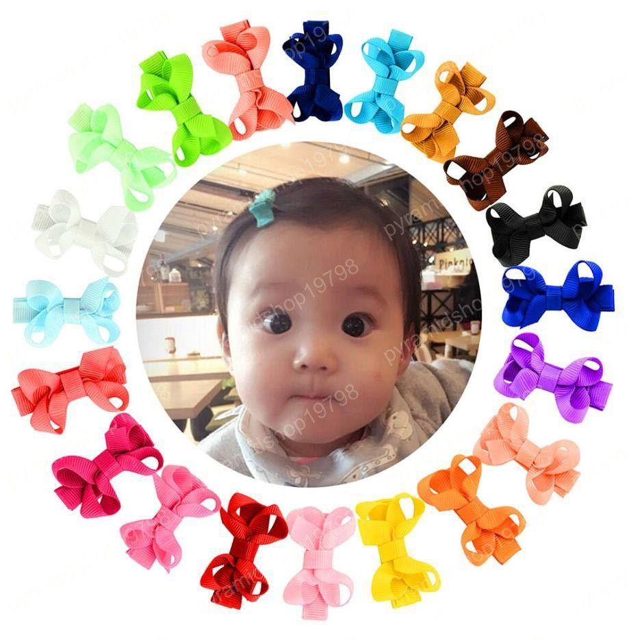 2 inch Baby Bow Hairpins Small Mini Grosgrain Ribbon Bows Hair grips children Girls Solid Hair Clips Kids Hair Accessories 20 colors