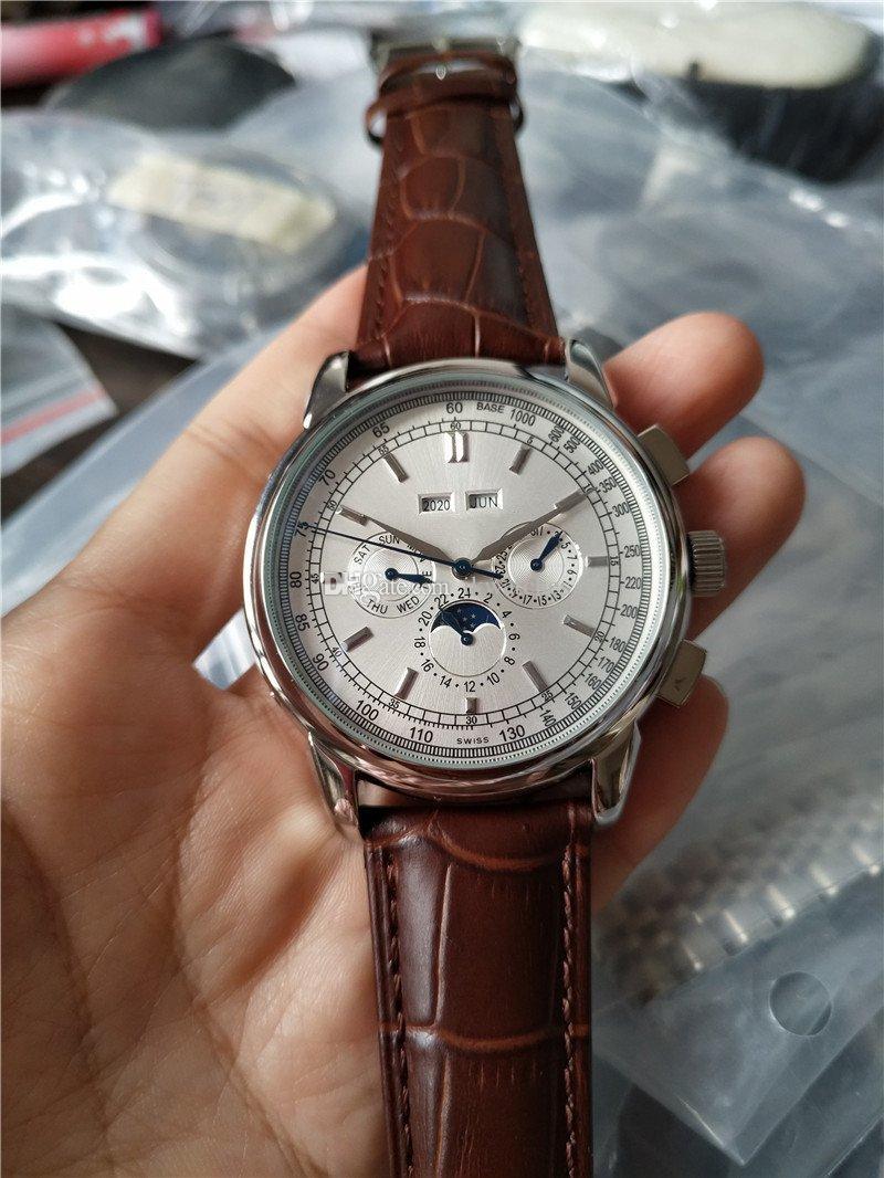 높은 품질 최고 판매 시계 남성 시계 자동 운동 스테인레스 스틸 손목 시계 leathe 스트랩 투명 유리로 돌아 가기 012