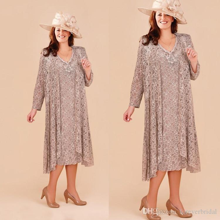 Elegant Plus Size Mother Of The Bride Dresses With Long Jacket New Full  Lace Appliques Wedding Guest Dress Tea Length Beach Formal Wear Plus Size  ...