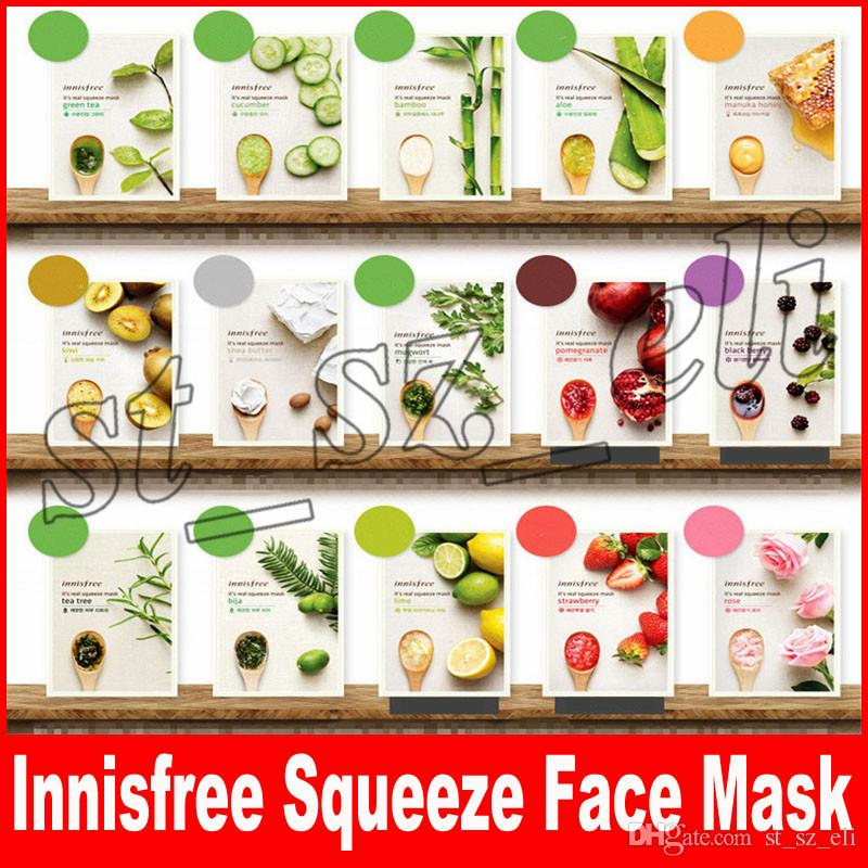 Innisfree My Real Squeeze Facial Mask Sheet Kinds Oil Control Moisturizing Face Skin Treatment Masks Makeup
