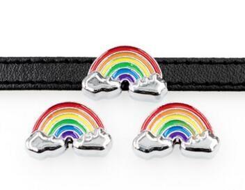 Partihandel 100st / mycket 8mm Rainbow Slide Charms Fit för 8mm Telefonremsor Armband DIY Tillbehör Mode Smycken