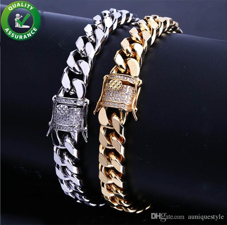 망 골드 팔찌 럭셔리 매력 팔찌 골드 도금 힙합 디자이너 쥬얼리 CZ 다이아몬드 마이애미 쿠바 링크 체인 Bangles 10mm