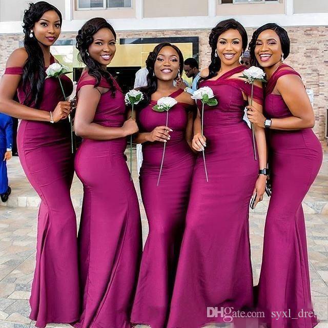 2018 저렴한 인어 플러스 사이즈 신부 들러리 드레스 웨딩 게스트 드레스 Tulle 어깨 바닥 길이 하녀의 명예 가운 robes de fête