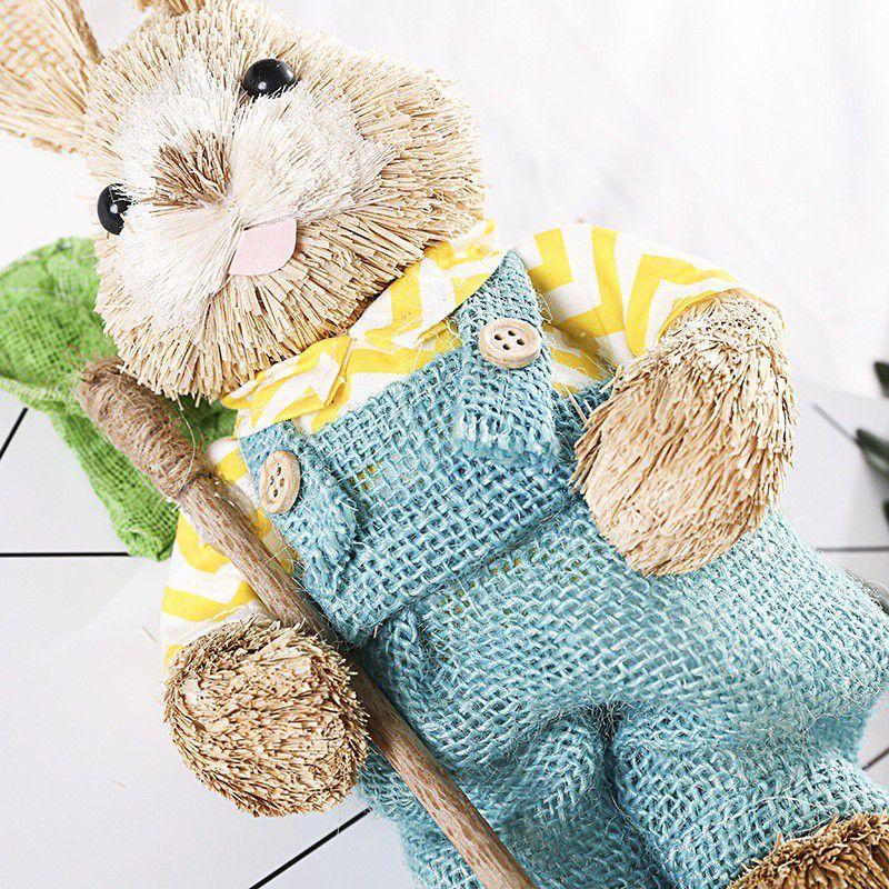 Conejo artificial paja Inicio Jardín Conejo Decoración de Pascua Decoración de fiesta el tema Para Pascua del favor del regalo de cumpleaños para niños