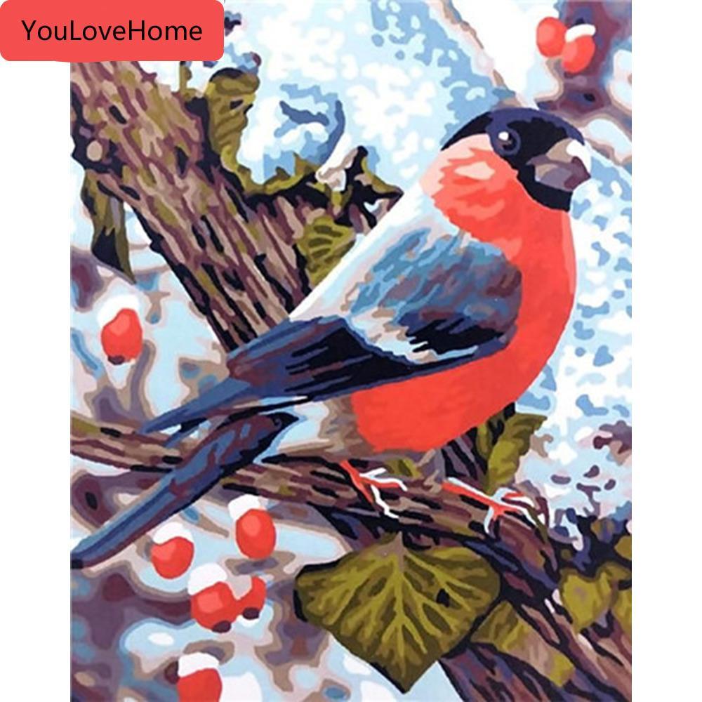 Pintura al óleo por el número de aves kits animales lienzo de dibujo pintado a mano de bricolaje Fotos Arte Pintura hermosa de Numbers Pintura pintada a mano
