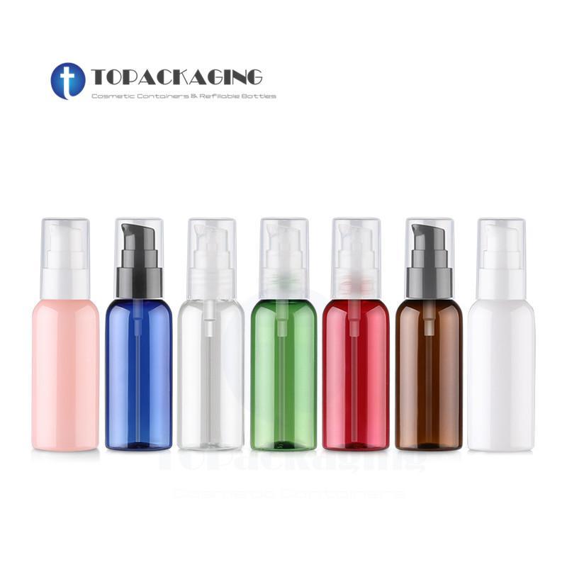 Bottiglia 50PCS * 50ML pompa lozione plastica PET contenitore cosmetico Piccolo Olio Essenziale trucco imballaggi vuoti Shampoo Ricaricabile Fiale